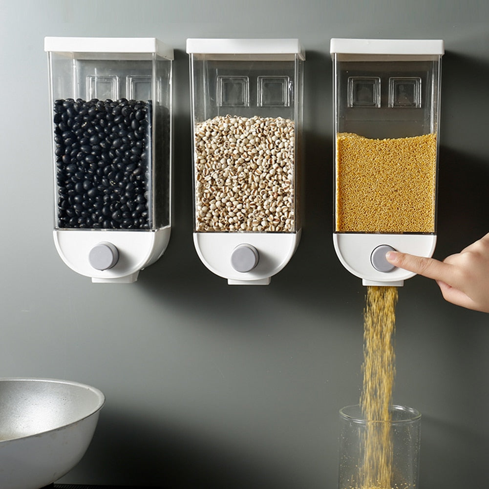 TRANSPARENT WALL MOUNTED CEREAL/ GRAIN DISPENSER