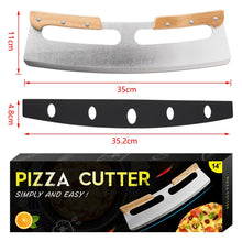Load image into Gallery viewer, Pizza Cutter Rocker Stainless Steel with Double Wooden Handle 14
