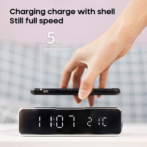 LED Electric Alarm Clock With Phone Charger Wireless