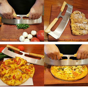 Pizza Cutter Rocker Stainless Steel with Double Wooden Handle 14