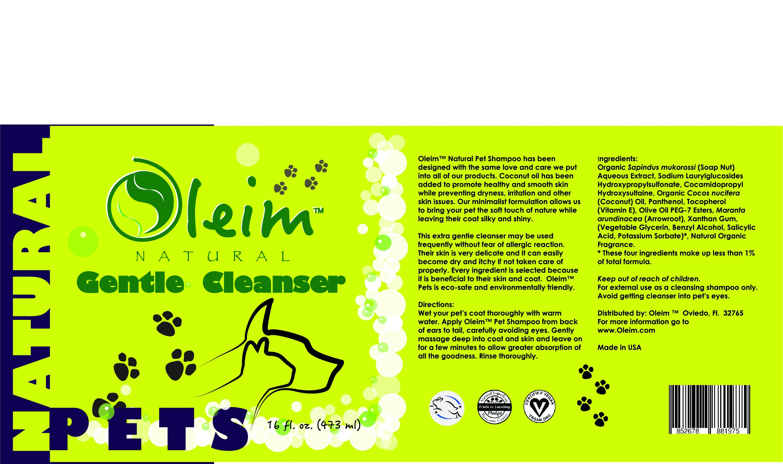 OLEIM™ Natural Pet Cleanser-16 oz- Free Shipping all Orders- Buy 2 and Save