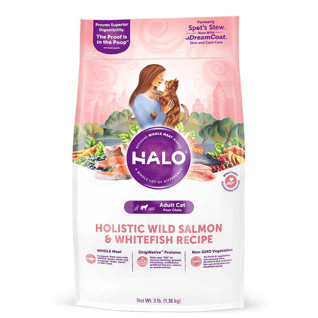 Halo Holistic Wild Salmon and Whitefish Recipe for Adult Cat Dry Cat Food