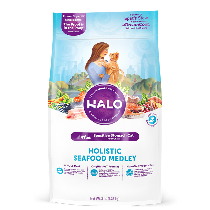 Halo Cat Sensitive Stomach - Holistic Seafood Medley Dry Cat Food