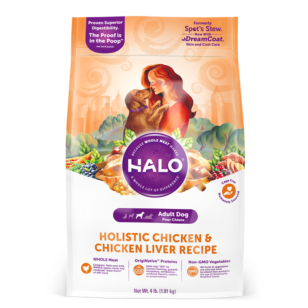 Halo Holistic Chicken & Chicken Liver Recipe Adult Dog Dry Dog Food