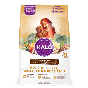 Halo Adult Dog - Holistic Healthy Weight Grain Free Turkey, Turkey Liver & Duck Recipe Dry Dog Food