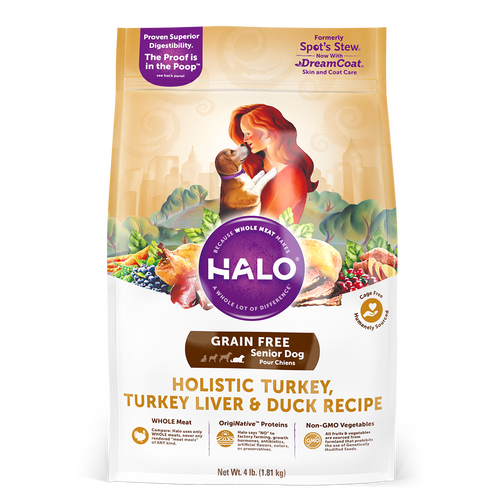 Halo Senior Dog Holistic Grain Free Turkey, Turkey Liver & Duck Recipe Dry Dog Food