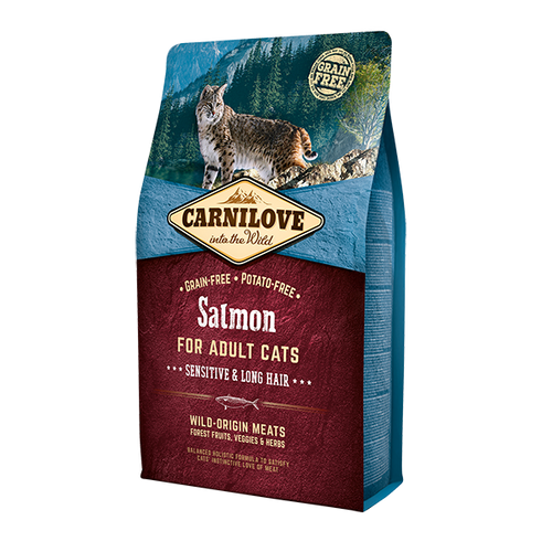 Carnilove Salmon for Adult Cats Sensitive & Long Hair Dry Cat Food 2kg
