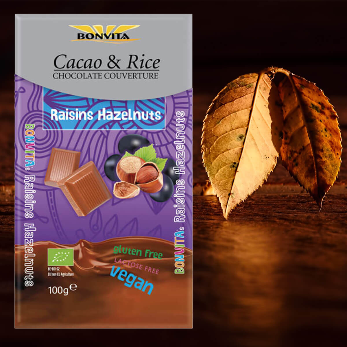 Bonvita Cacao & Rice Chocolate Couverture Hazelnut Raisin 100g