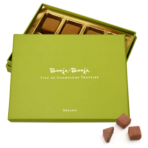 Booja Booja Fine de Champagne Chocolate Truffles and Moo Free Rice Milk Dark Chocolate Vegan Gluten Free Soya Free