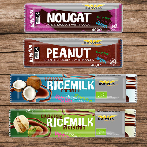 Bonvita Bars Dark nougat Couverture peanut Couverture coconut Couverture pistachio