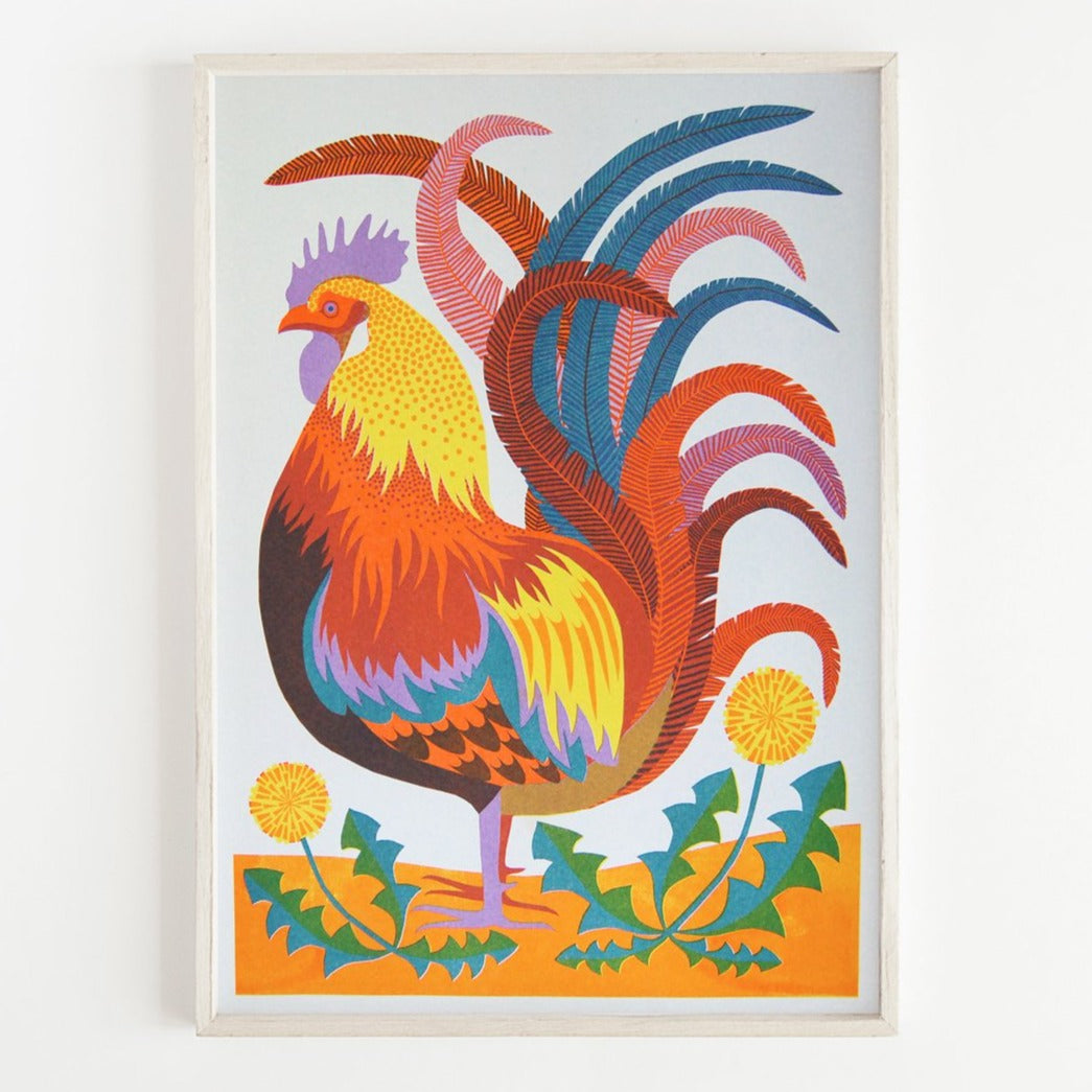 Rooster - A3 Risograph Print