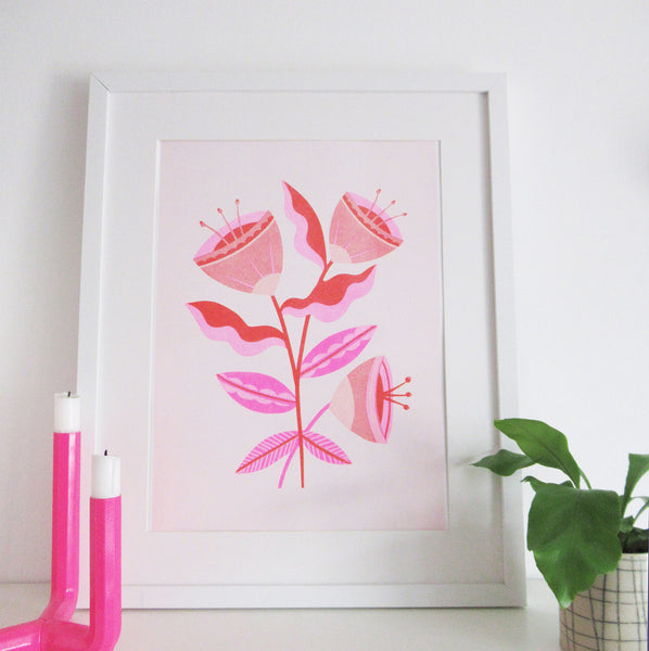 Abstract Flowers - A3 Risograph Print