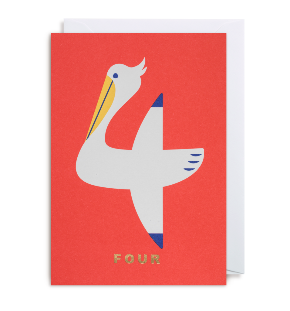 Age 4 Pelican - Kids Birthday Card
