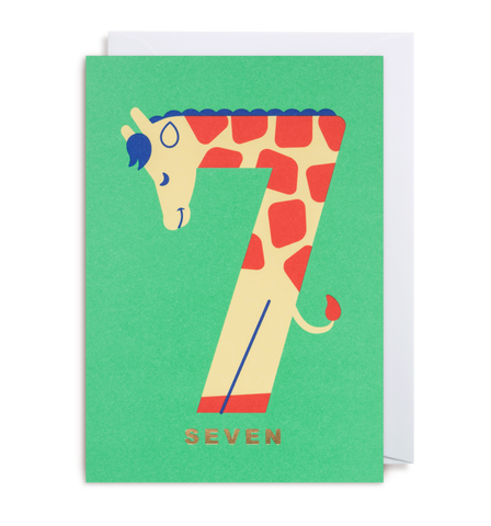 Age 7 Giraffe - Kids Birthday Card