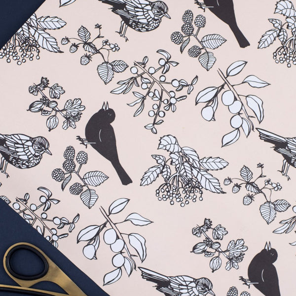 Birds and Berries (Pink) - Wrapping Paper