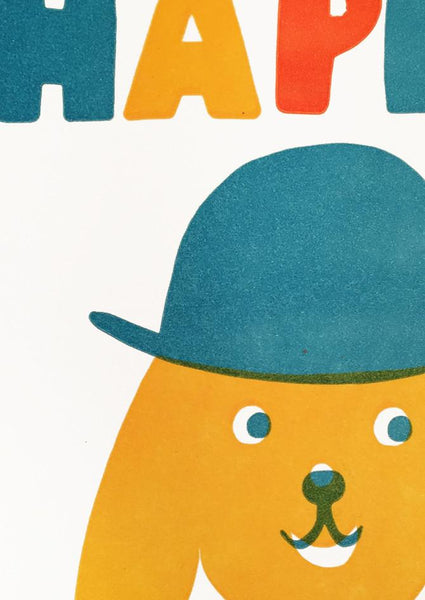 Happy Birthday Dog in Hat - Card