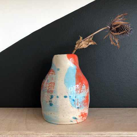 Bud Vase - Red and Blue Paint Drops