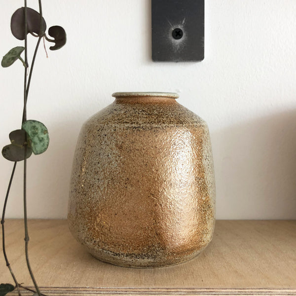 Wood-Fired Stoneware Bud Vase - Speckled Cream and Brown