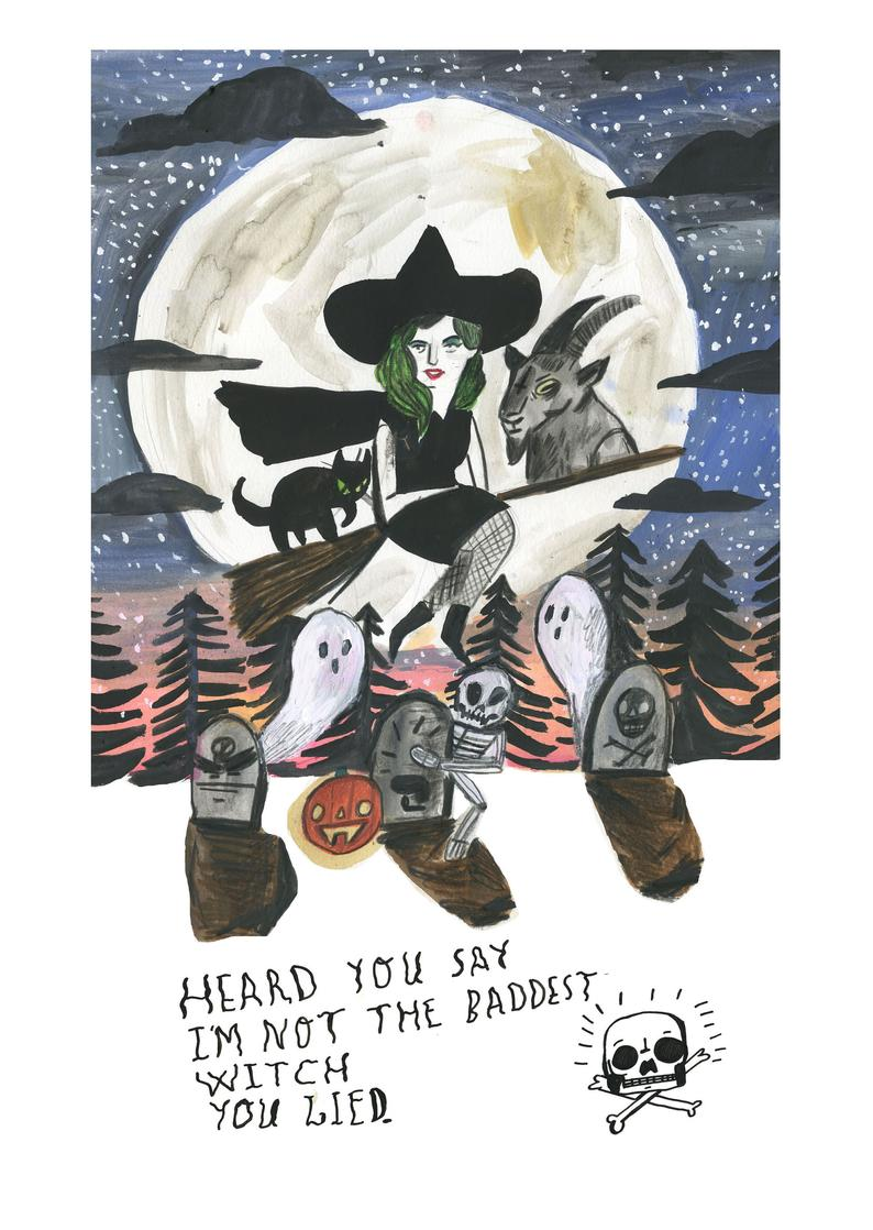 The Baddest Witch - A4 Print