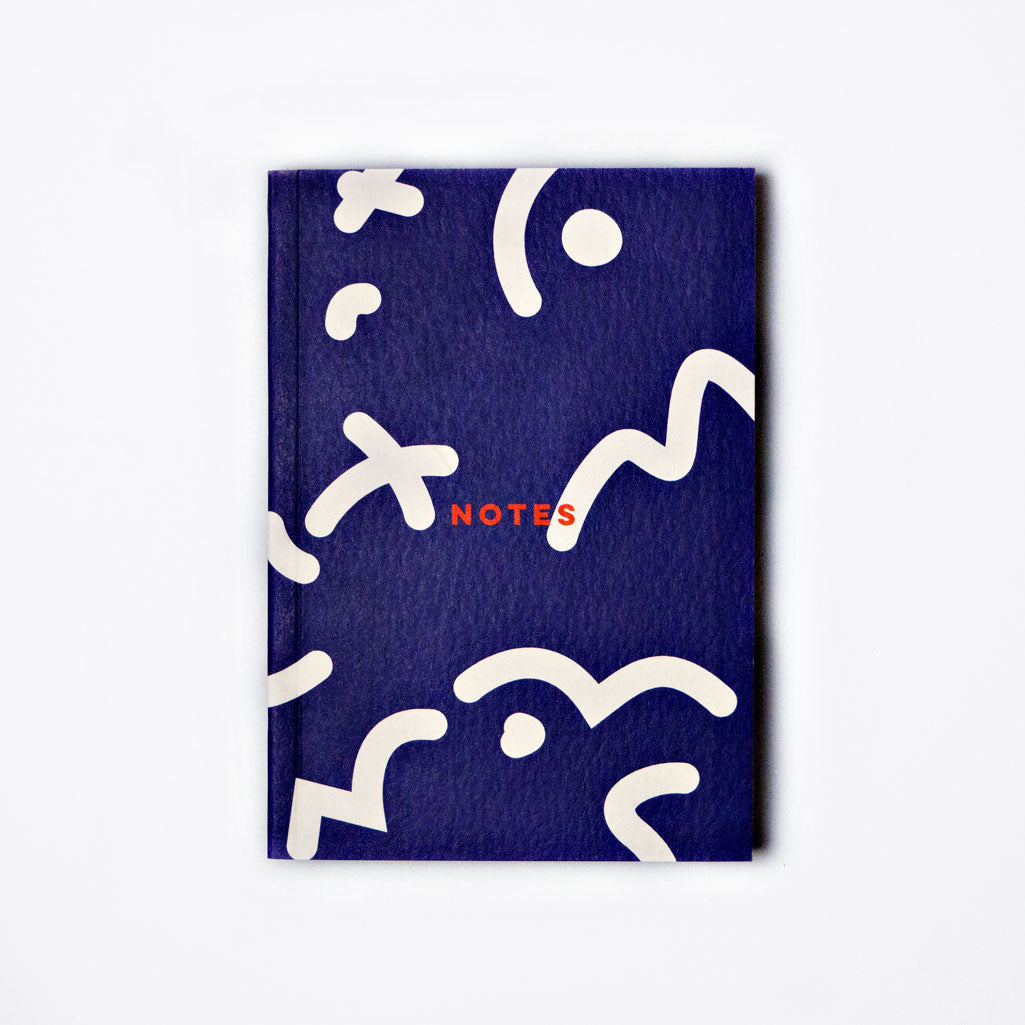 Blue Space Squiggle Lay Flat Notebook - A6