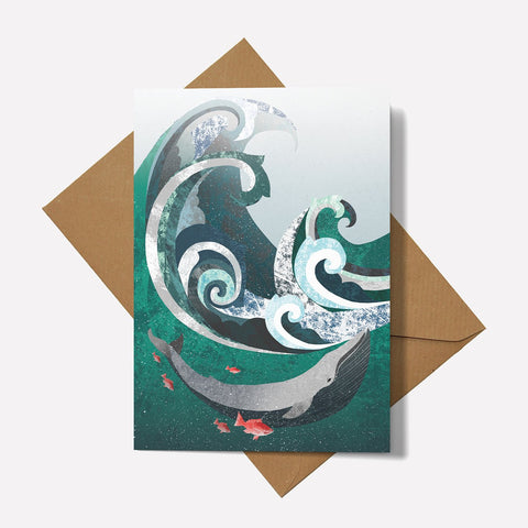 Whale and Wave - Card