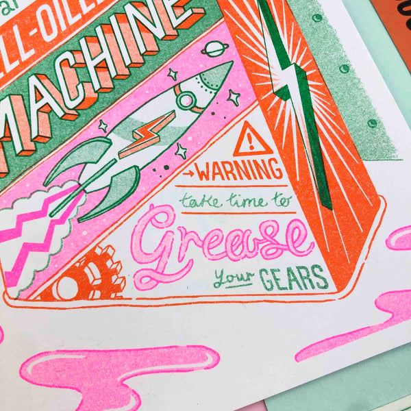 Grease Your Gears - A5 Riso Print