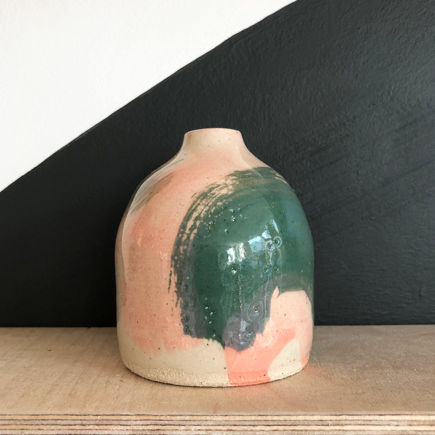 Bud Vase - Green Pink Big Brushstroke