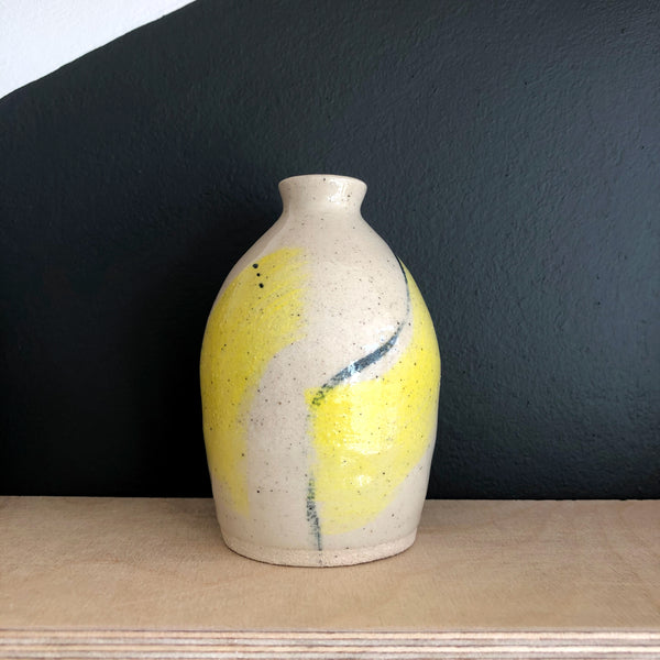 Bud Vase - yellow and black