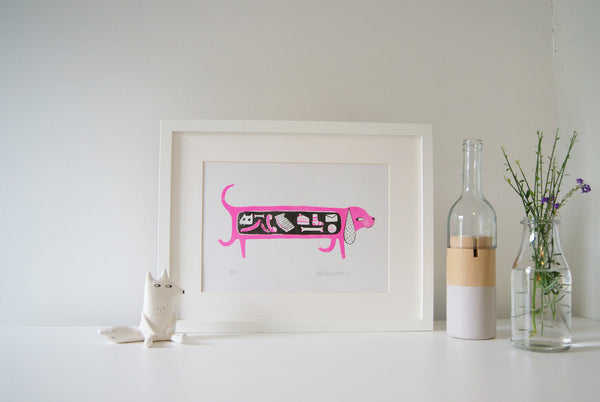 Hungry Sausage Dog - Risograph Print