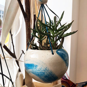 Large Hanging Stoneware Planter - Blue Swoosh