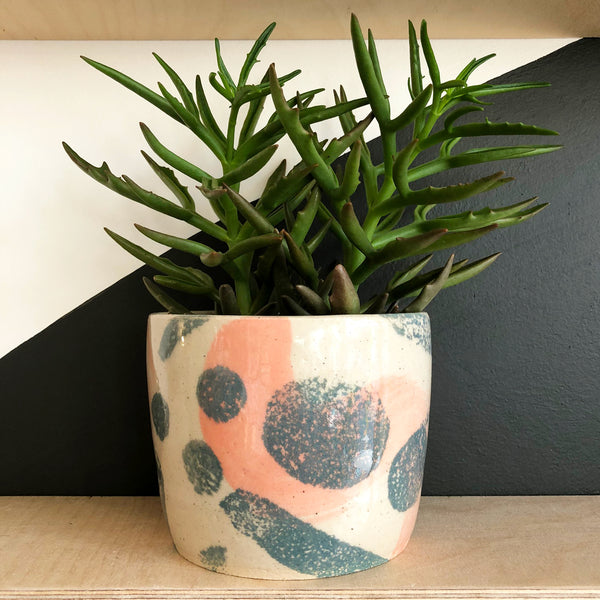 Medium Stoneware Plant Pot - Pink and Blue-Grey Shapes