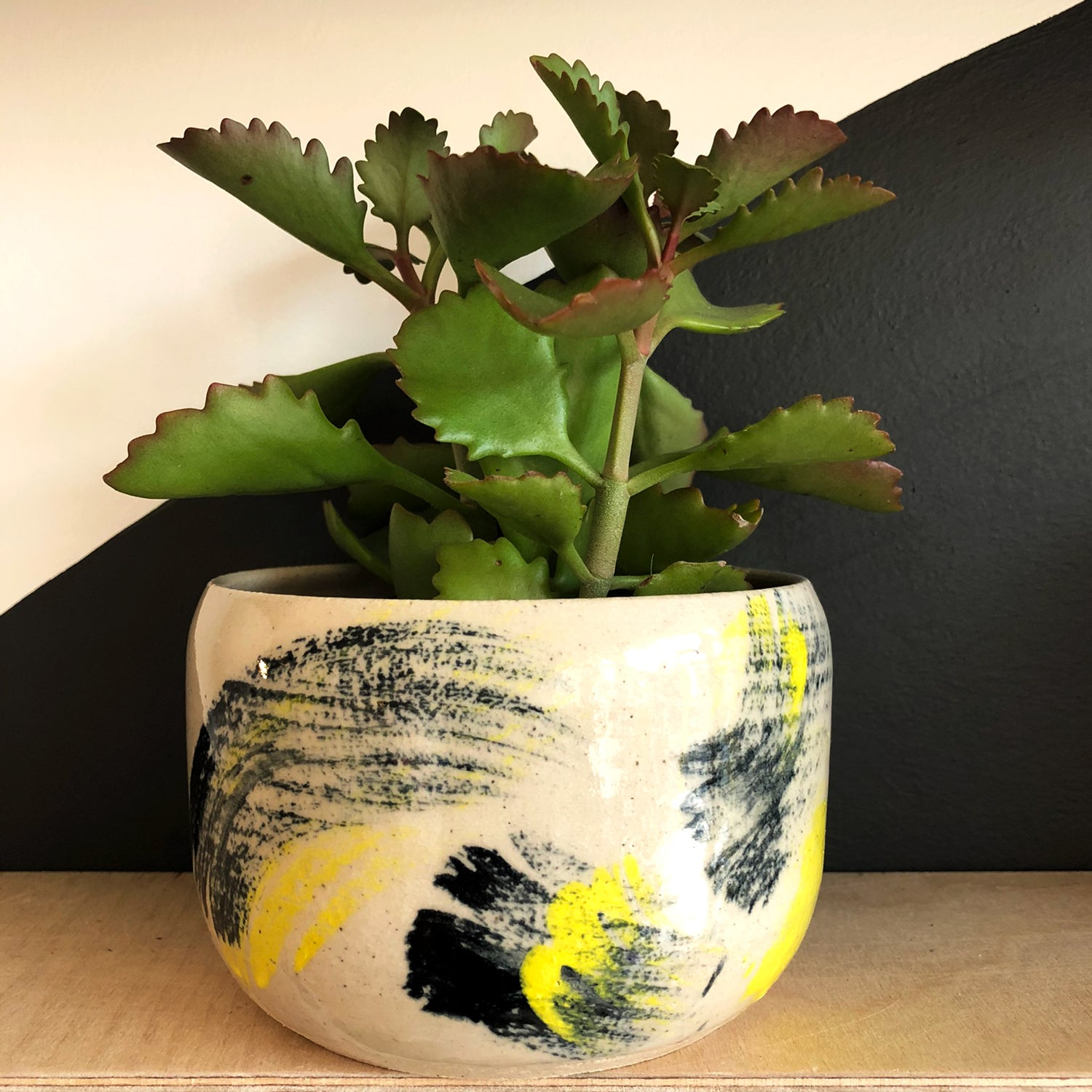 Large Plant Pot - Yellow Black Brushstrokes