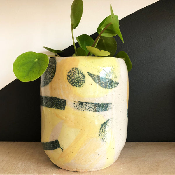 Large Plant Pot - Ochre and Green Shapes