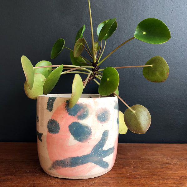Large Plant Pot - Pink and Blue-Grey Shapes