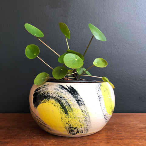 Large Rounded Plant Pot - Yellow Black Brushstrokes