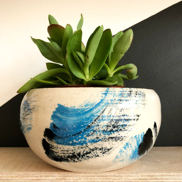 Large Low and Wide Plant Pot - Blue Black Brushstrokes