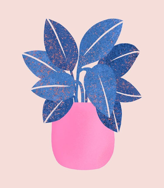 Abstract Blue Plant in Pink Vase - A4/A3 Print