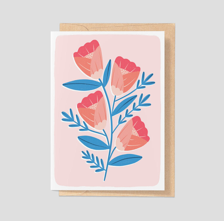 Abstract Red Flowers - Card