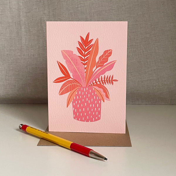 Leaves in Patterned Pot - Card