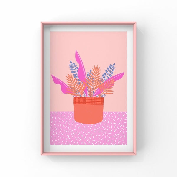 Pink Leaves in a Pot - A5 Print