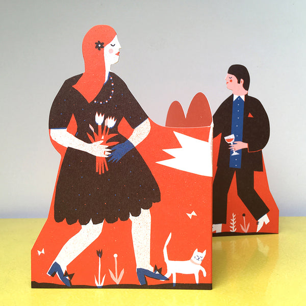Concertina Couple Card - Man and Woman