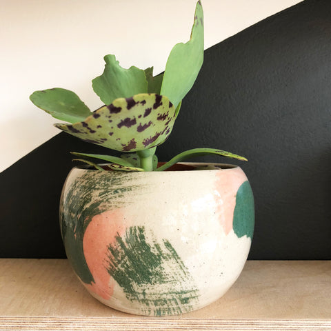 Medium Stoneware Rounded Plant Pot - Peach and Olive