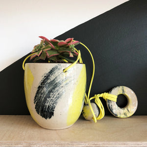 Medium Hanging Stoneware Planter - Yellow and Black