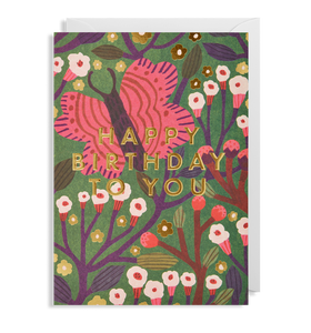Birthday Butterfly and Flowers - Card