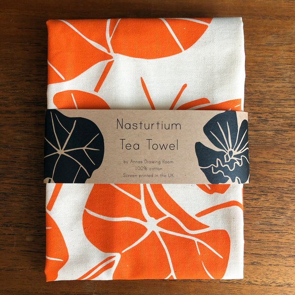 Pair of Tea Towels: Artichoke and Nasturtium