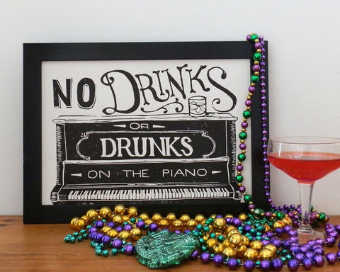 No Drinks or Drunks - A4 Linocut Print