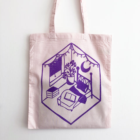 Bookish Room Purple on Pink - Tote