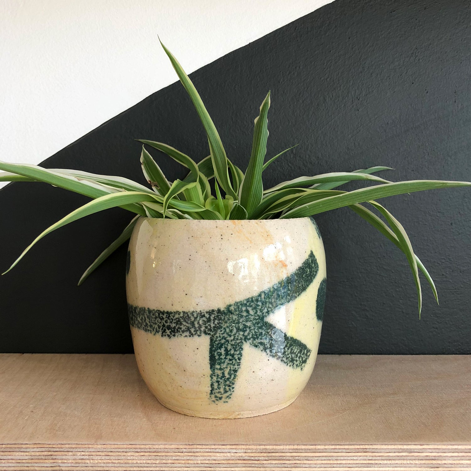 Small Plant Pot - Ochre and Green
