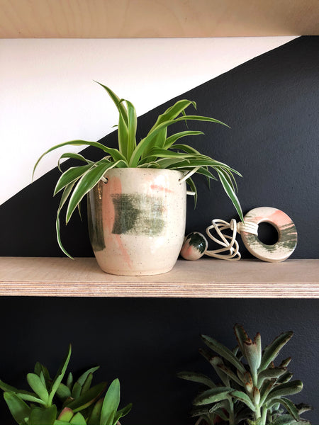 Small Hanging Stoneware Planter - Peach and Green