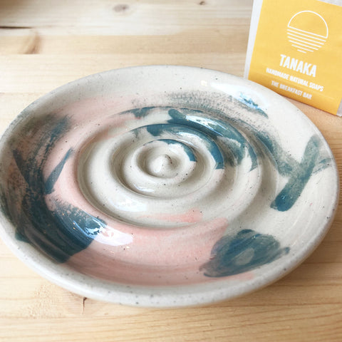 Ceramic Soap Dish - Pink and Grey-Blue